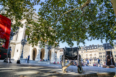 Frankfurt / Germany - August 02 2018: Wheelchair standing at Opernplatz during one of the warmest summer days in the city