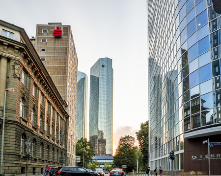 Frankfurt / Germany - August 02 2018: General view of Franfurt, Main, with skyscraper