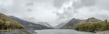 View over Llyn Peris to Snowdonia from Llanberis - Wales - UK