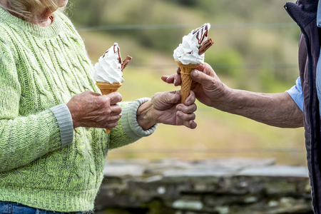 Senior couple enjoy their ice cream in the nature.