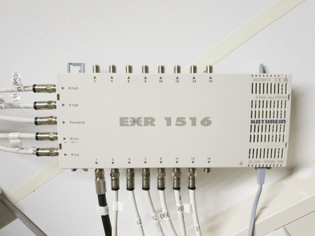 Leverkusen  Germany - September 06 2018 : Television network switch is working while green light are flashing Editorial