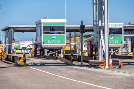 Holyhead / Wales - April 30 2018 : The border control is ready for passengers