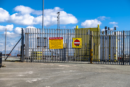 Holyhead  Wales - April 30 2018 : Sign warning of the restricted border area