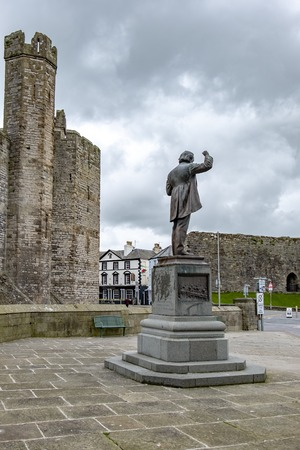Caernarfon / Wales - May 01 2018 : Prime Minister David Lloyd George commemorative stone