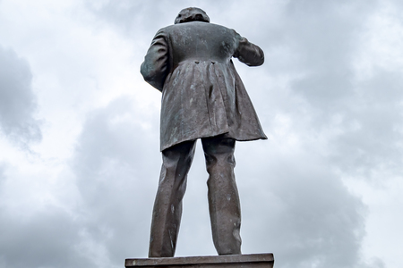 Caernarfon  Wales - May 01 2018 : Prime Minister David Lloyd George commemorative stone