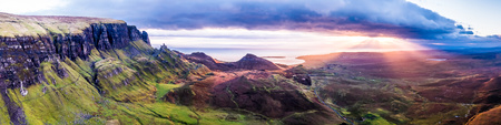 The amazing Quiraing during sunrise- Isle of Skye - Scotland. Фото со стока