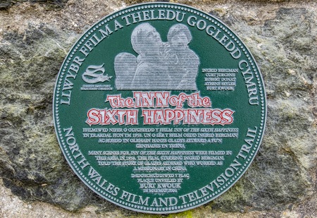 Beddgelert  Wales - May 03 2018 : The Inn of the Sixth Happiness film sign is placed on the traditional building Editorial