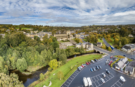 Aerial view of Jedburgh in autumn with the ruins of Jedburgh Abbey in Scotland