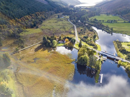 Aerial view of Laggan with swing bridge in the Great Glen above Loch Oich in the scottish highlands - United Kingdom