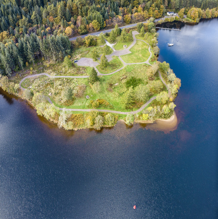 Aerial view of Laggan in the Great Glen above Loch Oich in the scottish highlands - United Kingdom Stok Fotoğraf