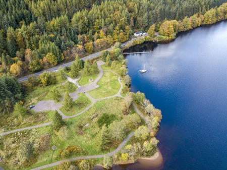 Aerial view of Laggan in the Great Glen above Loch Oich in the scottish highlands - United Kingdom