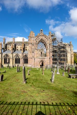 Melrose Abbey ruins in autumn - Scottish Borders
