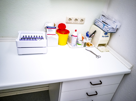 Moers / Germany - December 23 2018 : Room with equipment in dermatology clinic Editorial