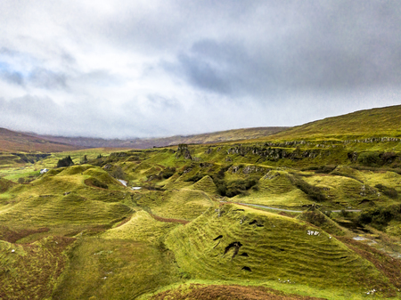 Aerial view of the Fairy Glen by Uig - Isle of Skye, Scotland