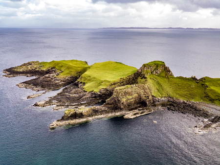 Aerial view of the Dinosaur bay with the rare Dinosaur footprint of the sauropod-dominated tracksite from Rubha nam Brathairean, Brothers Point - Isle of Skye, Scotland