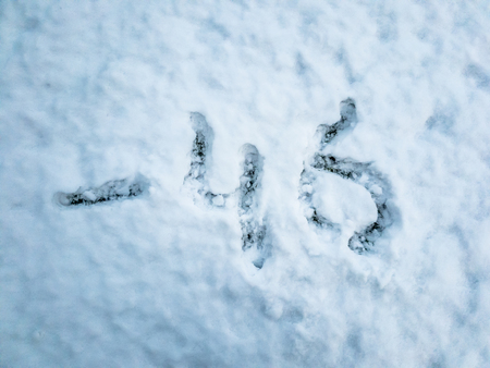 Temperature of -46 written in the freshly fallen snow Stock Photo