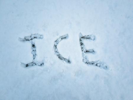 ICE written in the freshly fallen snow Reklamní fotografie