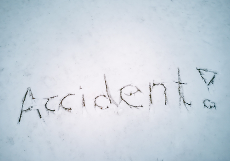 ACCIDENT written in the freshly fallen snow