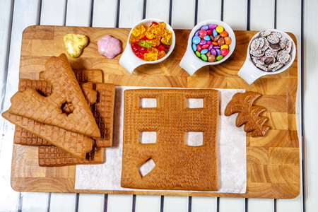 Ingredients for building a ginger bread house