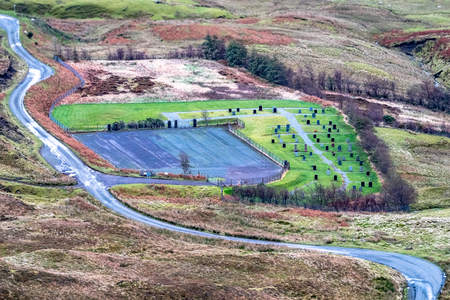 Aerial view of the Quiraing graveyard, cemetry, between Staffin and Uig on the Isle of Skye, Scotland 스톡 콘텐츠
