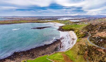 Aerial view of the Wild Atlantic Coastline by Maghery, Dungloe - County Donegal - Ireland
