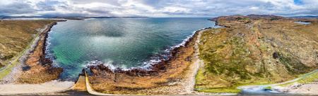 Aerial view of the coastline by Marameelan south of Dungloe, County Donegal - Ireland