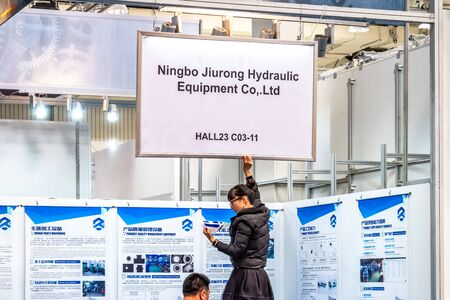 Hannover / Germany - April 02 2019 : China is the strongest land in this years world leading technology fair in Hannover