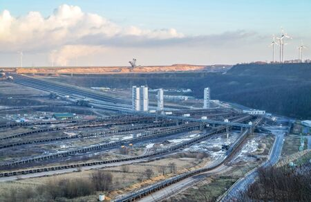 A large brown coal open cast pit mine by Garzweiler in Germany Stock Photo