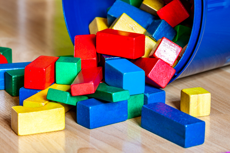 Colorful wooden building blocks on floor . Selective focus Banque d'images - 123199607