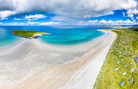 Aerial view of the awarded Narin Beach by Portnoo and Inishkeel Island in County Donegal, Ireland Stock Photo