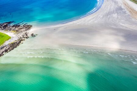 Aerial view of the Narin Beach by Portnoo and Inishkeel Island in County Donegal, Ireland