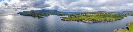 Aerial view of Teelin Bay in County Donegal on the Wild Atlantic Way in Ireland Фото со стока
