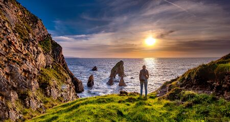 Crohy Head Sea Arch Breeches during sunset - County Donegal, Ireland Reklamní fotografie - 130685361