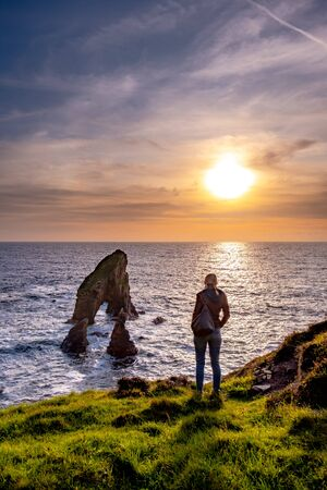 Crohy Head Sea Arch Breeches during sunset - County Donegal, Ireland Reklamní fotografie - 130685375