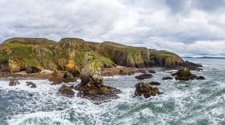 Aerial view of the Crohy Head Sea Arch, County Donegal - Ireland