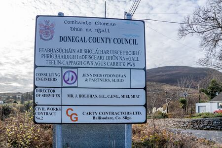 Carrick, County Donegal / Ireland - November 09 2019 : Donegal County Council giving information on sign in Gaelige. Éditoriale