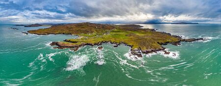 Aerial view of the Rosguil Pensinsula by Doagh - Donegal, Ireland 版權商用圖片