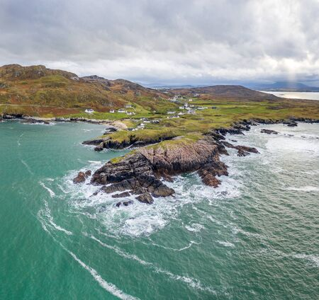 Aerial view of the Rosguil Pensinsula by Doagh - Donegal, Ireland.