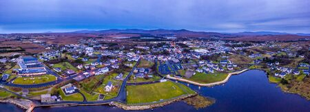 Aerial view of the skyline of Dungloe in County Donegal - Ireland