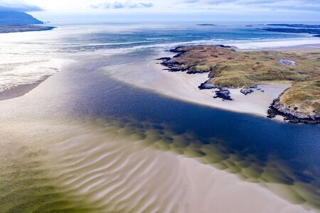 The landscape of the Sheskinmore bay next to the Nature Reserve between Ardara and Portnoo in Donegal - Ireland