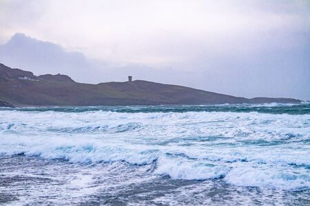 The coast of Maghery in County Donegal during the storm- Ireland