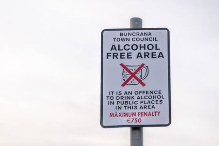 Buncrana  Ireland - January 18 2020 - Sign forbidding to dring alcohol Redakční
