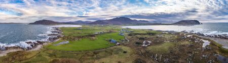 Aerial view of Tullagh bay, Inishowen - County Donegal, Republic of Ireland.