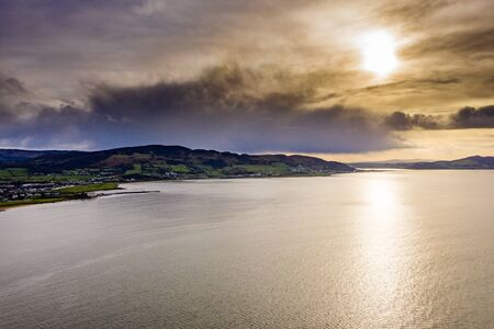 Big clouds above Buncrana in County Donegal - Ireland. 스톡 콘텐츠