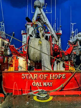 Killybegs, Co. Donegal  Ireland - February 09 2020 - The star of hope moored in the harbour during storm Ciara