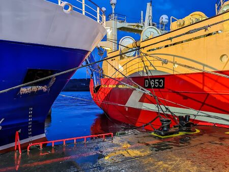 Killybegs, Co. Donegal  Ireland - February 09 2020 - The harbour is full of fishing boats during storm Ciara