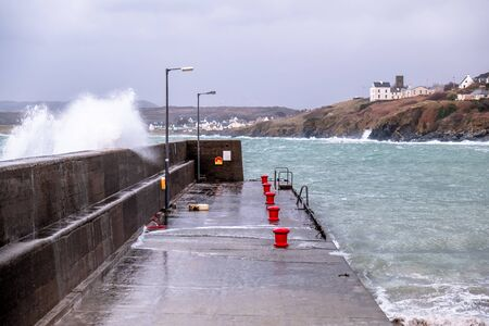 Crashing ocean waves in Portnoo during storm Ciara in County Donegal - Ireland