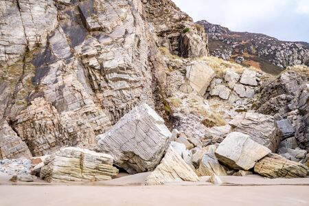 Rockfall at Maghera Beach near Ardara, County Donegal - Ireland