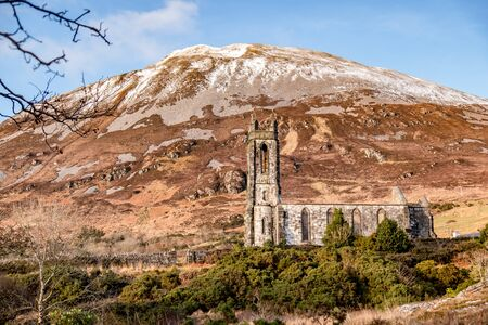 Dunlewey church ruins in the Poison Glen at Mount Errigal in Donegal, Ireland.