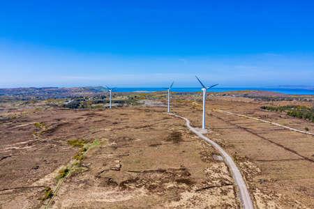 Portnoo / Ireland - April 14 2020 : The Loughderryduff windfarm is producingbetween Ardara and Portnoo in County Donegal